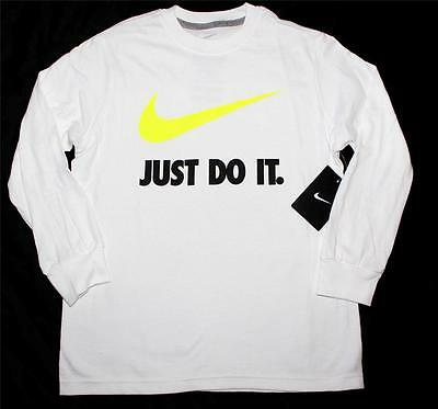 Nike Youth Boys Just Do It Swoosh Graphic Long Sleeve Shirt White Volt 611507