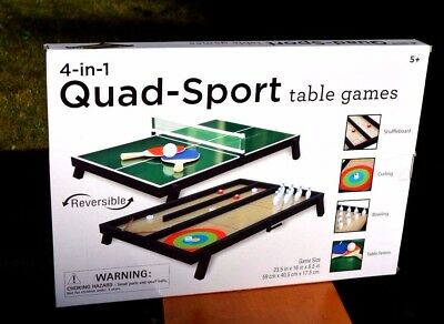 New 4-In-1 Quad Sport Table Game Set~Bowling~Table Tennis~Shuffleboard Great Gif
