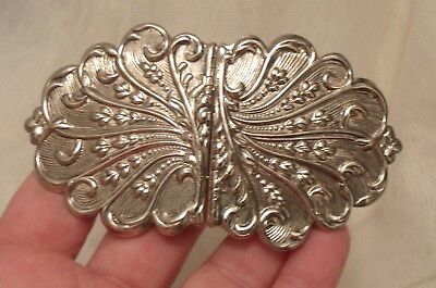Vintage Silver Plated Repousse Design Nurse Belt Buckle