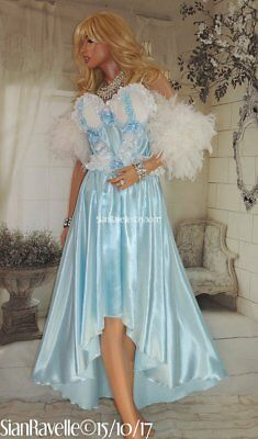 Sian Ravelle Sissy Baby Blue White Satin Long Designer Bra Evening Gown Cd Dress