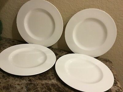"NEW SET OF 4 Villeroy & Boch ROYAL White 10-7/8"" round DINNER Plates ..."