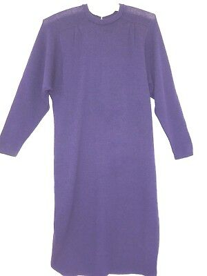 Vintage St John Santana Knit Dress Purple Mid Calf by Marie Gray sz 6 USA