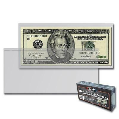 10 BCW Deluxe Currency Sleeve Bill Holder Paper Money Semi Rigid - FREE S/H