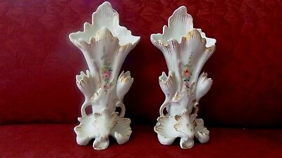 Pair Of Old Paris Porcelain Flared Vases, 9.5 Inches. Great Condition