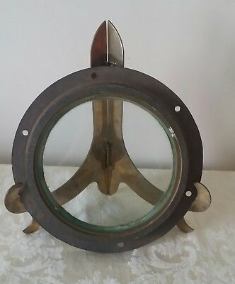 """Antique Solid Brass 8 1/2"""" Porthole W/ Glass  Great Patina Use On Boat Or Decor"""