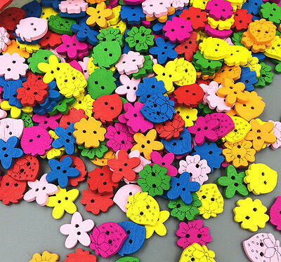 100pcs Random Mixed Wooden Buttons Sewing Scrapbooking 2 Holes Mixed Color
