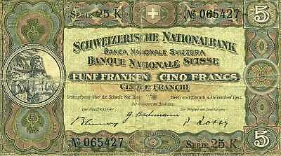 Swiss five franc note, 1942 vintage, serial No. 065427