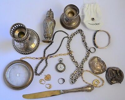 Sterling Silver and 14K 10K Gold Scrap Jewelry Lot Pocket Watch Candle Bracelet