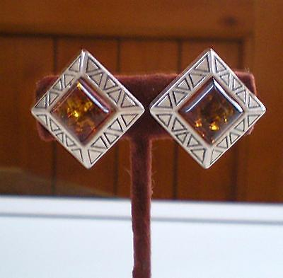 Vintage Sterling & Baltic Amber Clip-On Earrings