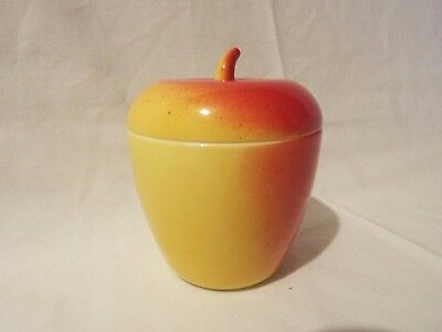 Milk Glass APPLE red yellow with lid