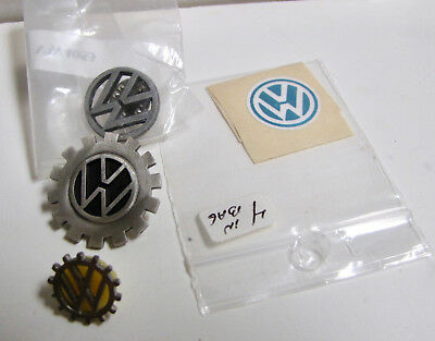 VW Logo Pin, VW Lot, Rare VW Pin, lapel, hat, Gears shaped, + Decals, Vintage