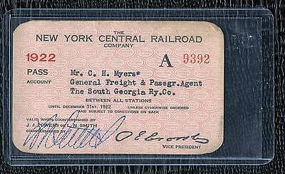 1922 New York Central Railroad Pass - Freight & Passenger Agent -