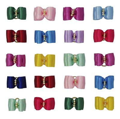 10X Pure Colour Pet Puppy Hair Bows Rubber Bands Small Dog Cat Topknot Accessory