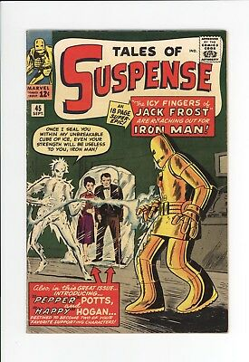 TALES OF SUSPENSE #45 - UNRESTORED NICE GRADE - 1st PEPPER and HAPPY - IRON MAN