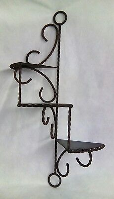original antique vintage primitive black metal wall hanging Shelf decorative