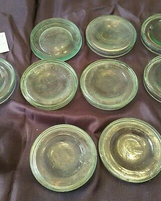 10 Vintage Blue Unnamed Jar Lids Canning Bubbles 010
