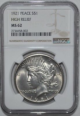 1921 Peace Dollar - High Relief - Ngc - Ms 62 - New Style Holder