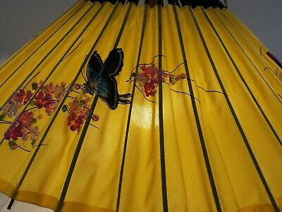Vintage Hanging Japanese Style Parasol Lamp Opens and Closes like an Umbrella