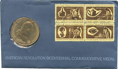 1976 USA FDC 4of 8 Cent Stamps & 200th Revolution Medal