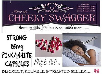 <50x Strong Sleeping Tablets Pills 25mg Caps Pink/white 🎀 RELIABLE & DISCREET!!