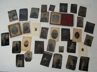 Huge Lot of 34 Tintypes Tin Type Photographs Children Men Women Singles Couples