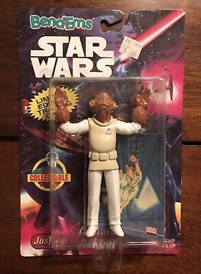STAR WARS Bend-ems Action Figure Admiral Ackbar Toys Bonus Trading Card 1994