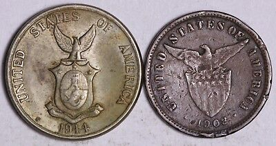 Lot of 2 USA/Philippines Centavos Coins - 1944 & 1908 - FREE Worldwide Shipping!