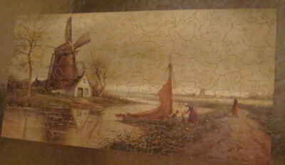 early Complete PASTIME PUZZLE w box & many cutouts, 1928 -- 200+ Dutch Village
