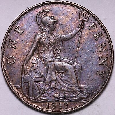 HIGH GRADE 1917 Great Britain One Penny - FREE Worldwide Shipping!