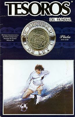 1985 Mexico Soccer 100 Peso Silver Coin in Card (31.1 Grams .720 Silver)