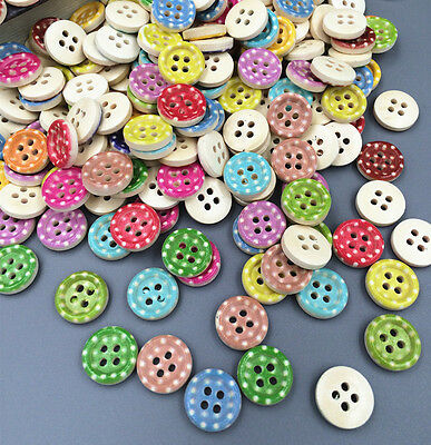 100pcs Mix Color 4 Holes Wooden Buttons Sewing Clothing accessories 13mm