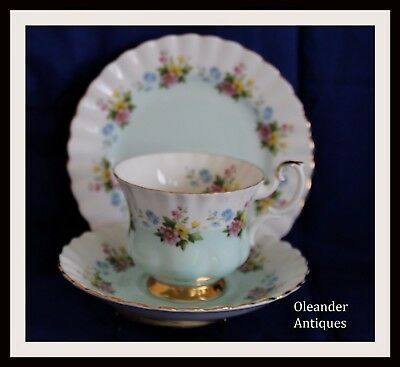 Royal Albert Trio 4362 teacup saucer and plate in aqua and floral pattern