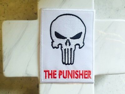 White The Punisher Comic Daredevil Black Skull Iron On Patches Patch