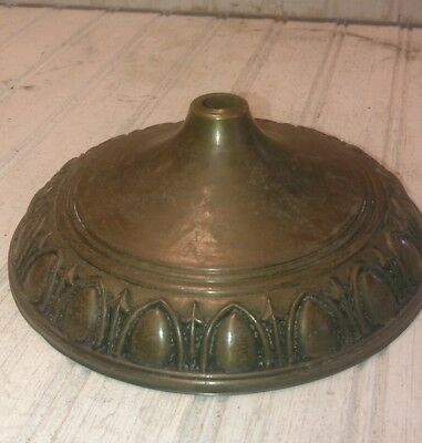 Antique vtg stamped brass ceiling light fixture canopy