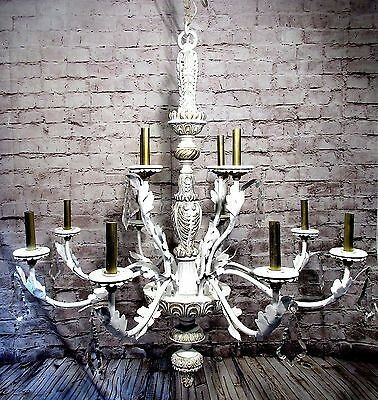 Vintage Chandelier Grand White And Gold 12 Light Fixture Crystals Large Pendant