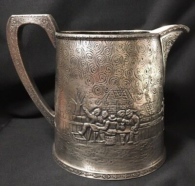Antique Ornate Silver Plate Water Pitcher Raised Village Scene Signed K&S 83589