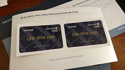 Two (2) United Club Pass Lounge Access Hospitality Expires 10/31/2017 Best Offer