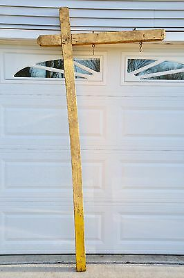 Vintage Outdoor Wooden Yellow Shop Store Display Sign Post Pole Bracket 7ft 10""