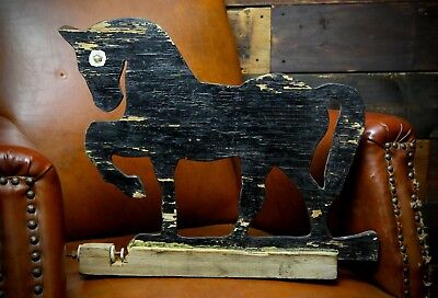 Folk Art Horse Weathervane Barn Wood Vintage Primitive Rustic Home Decor Unicorn