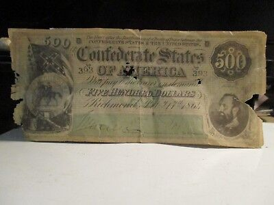 """1864 Confederate States Richmond $500 Dollars  """"'used"""" With Taping Overall Ok"""