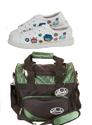 Youth Boys Linds Bot White Bowling Ball Shoes Linds Green 1 Ball Bag Sizes 2 - 5