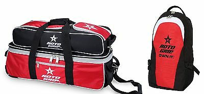 Roto Grip 3 Ball Tournament Tote Bowling Bag Shoe Pocket & Matching Back Pack
