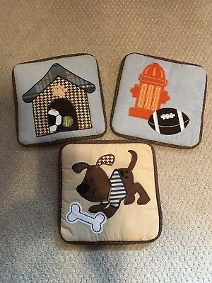 Lambs & Ivy Bow Wow 3 Soft Wall Hangings Blue Brown Doghouse Sports Baseball