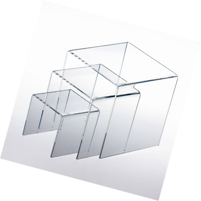 "Adorox Top Quality (1 Set of 3pcs) Clear Acrylic Display Riser (3"", 4"", 5"") Jewe"