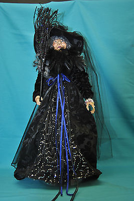 "Halloween Witch Doll w/Broom & Jewels  23"" Table Top Decoration"