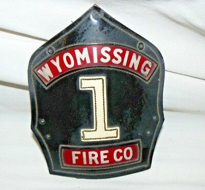 Rare Vintage Cairns & Bros Leather Helmet Badge Patch - Wyomissing Pa #1 Fire Co