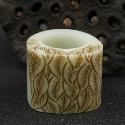 Chinese Exquisite Hand-carved Leaves carving Hetian jade Fingerstall