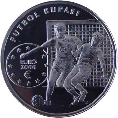 Turquía Turkey 2000 - 7.500.000 Lira Silver Plata Proof - Campeonato Europeo