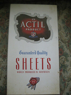 VINTAGE BOXED ACTIL PURE COTTON SHEETS   63 x 100 inches or 160 x 254 cms    No2