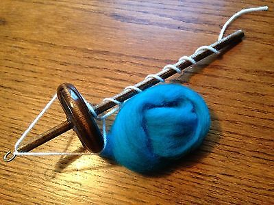 Top Whorl Drop Spindle 2.4oz. with Notch & Wool Roving  Free Shipping!